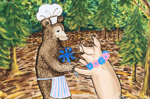 Acrylic painting of a bear dressed as a chef dancing with a pig wearing a flower necklace in the Appalachian mountians