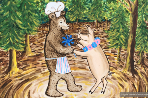 Jovial painting of a brown bear dancing with a pink pig.